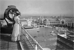 Woman looking down at 1893 Chicago World's Fair