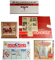 Monopoly editions throughout the years