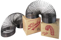 Slinky toys and boxes