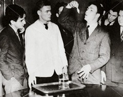 Harvard Student Lothrop Withington Swallowing the First Goldfish